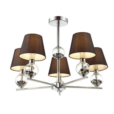 Потолочная люстра Lumion Franketta 3416/5, 5xE14x40W, прозрачный, хром, коричневый, металл, стекло, текстиль - миниатюра 1