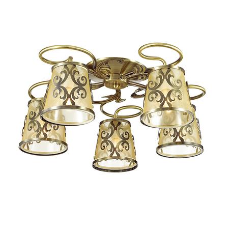 Потолочная люстра Lumion Lacressa 3418/5C, 5xE14x60W, бронза, золото, металл, текстиль