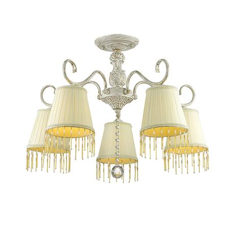 Потолочная люстра Lumion Manona 3421/5C, 5xE14x60W, белый с золотой патиной, бежевый, желтый, прозрачный, металл, текстиль, стекло