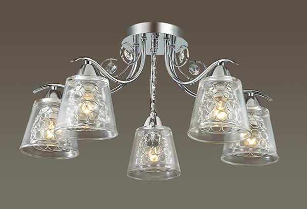 Потолочная люстра Lumion Polina 3445/5C, 5xE14x60W, хром, прозрачный, металл, стекло, хрусталь - фото 3