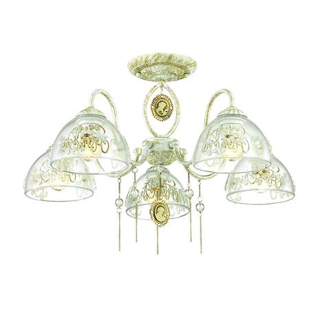 Потолочная люстра Lumion Absolona 3453/5C, 5xE27x60W, белый с золотой патиной, белый, золото, прозрачный, металл, стекло