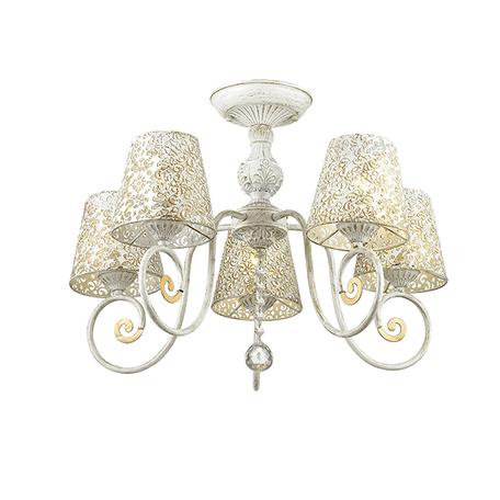 Потолочная люстра Lumion County Izidora 3465/5C, 5xE14x60W, белый с золотой патиной, прозрачный, металл, хрусталь