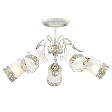 Потолочная люстра Lumion Gaetta 3237/5C, 5xE14x60W, белый с золотой патиной, золото, матовый, прозрачный, металл, стекло - миниатюра 1