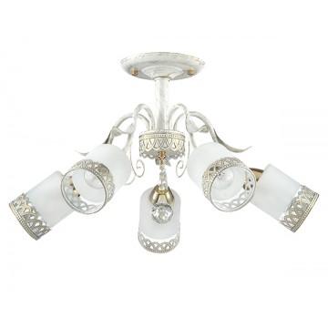 Потолочная люстра Lumion Gaetta 3237/5C, 5xE14x60W, белый с золотой патиной, золото, матовый, прозрачный, металл, стекло - миниатюра 2