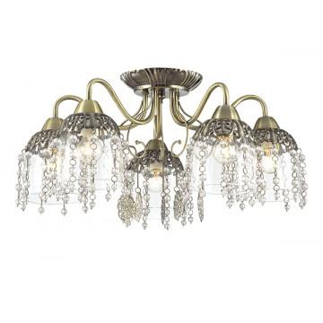 Потолочная люстра Lumion Doriana 3244/5C, 5xE14x60W, бронза, прозрачный, металл, стекло, хрусталь