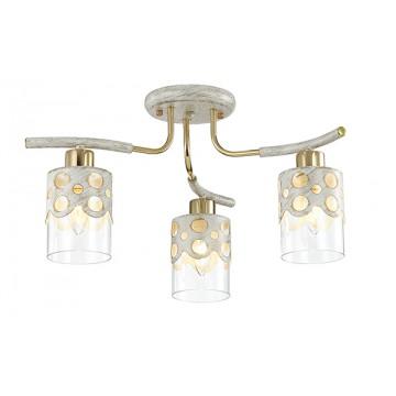 Потолочная люстра Lumion Colett 3271/3C, 3xE14x60W, белый с золотой патиной, золото, прозрачный, металл, стекло