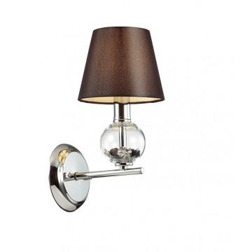Бра Lumion Franketta 3416/1W, 1xE14x40W, прозрачный, хром, коричневый, металл, стекло, текстиль
