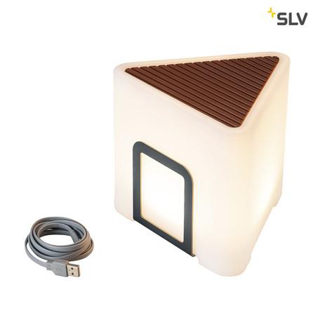 Садовый светодиодный светильник-сиденье SLV KENGA 17 1000400, IP44, LED 3000K, белый, коричневый, пластик