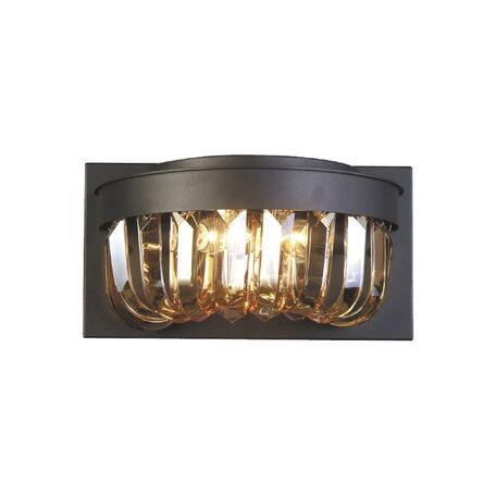 Бра Favourite Amber 1657-2W, 2xE14x40W, черный, янтарь, металл, хрусталь