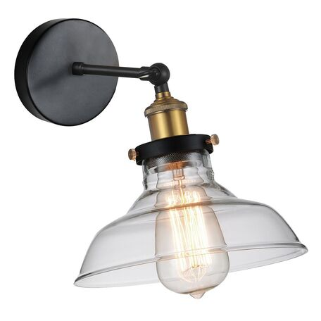 Бра с регулировкой направления света Favourite Cascabel 1876-1W, 1xE27x60W, черный, прозрачный, металл, стекло