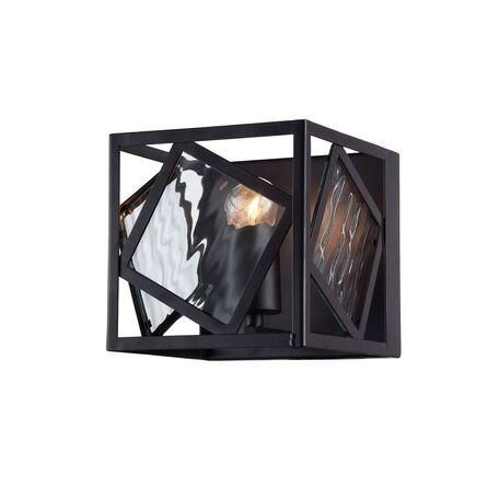 Настенный светильник Favourite Brook 1785-1W, 1xE27x60W, черный, прозрачный, металл, металл со стеклом, ковка