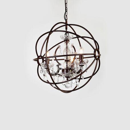 Подвесная люстра Favourite Orbit 1834-3P, 3xE14x40W, коричневый, прозрачный, металл, стекло, хрусталь