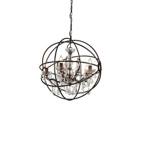 Подвесная люстра Favourite Orbit 1834-5P, 5xE14x40W, коричневый, прозрачный, металл, стекло, хрусталь - миниатюра 1