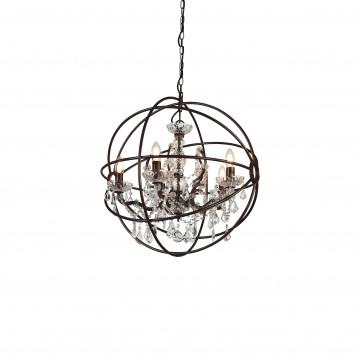 Подвесная люстра Favourite Orbit 1834-5P, 5xE14x40W, коричневый, прозрачный, металл, стекло, хрусталь - миниатюра 2