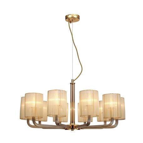 Подвесная люстра Favourite Birra 1860-10P, 10xE14x40W, золото, коньячный, бежевый, стекло, текстиль