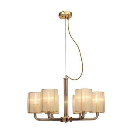 Подвесная люстра Favourite Birra 1860-6P, 6xE14x40W, золото, коньячный, бежевый, стекло, текстиль