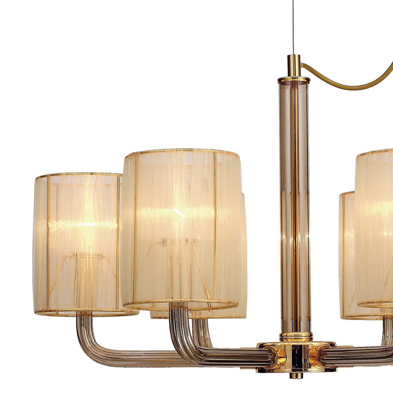 Подвесная люстра Favourite Birra 1860-6P, 6xE14x40W, золото, коньячный, бежевый, стекло, текстиль - фото 3