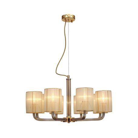 Подвесная люстра Favourite Birra 1860-8P, 8xE14x40W, золото, коньячный, бежевый, стекло, текстиль