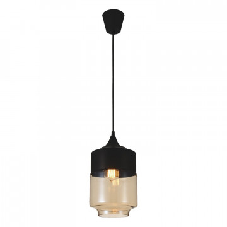 Подвесной светильник Favourite Kuppe 1592-1P, 1xE27x40W, черный, коньячный, металл, металл со стеклом