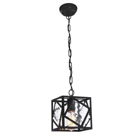 Подвесной светильник Favourite Brook 1785-1P, 1xE27x60W, черный, прозрачный, металл, металл со стеклом, ковка