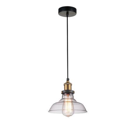 Подвесной светильник Favourite Cascabel 1876-1P, 1xE27x60W, черный, прозрачный, металл, стекло