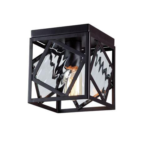 Потолочный светильник Favourite Brook 1785-1U, 1xE27x60W, черный, прозрачный, металл, металл со стеклом, ковка