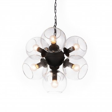 Подвесная люстра Favourite Schoppen 1491-7P, 7xE14x40W, черный, прозрачный, металл, стекло
