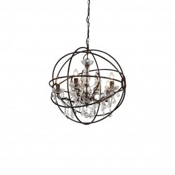 Подвесная люстра Favourite Orbit 1834-5P, 5xE14x40W, коричневый, прозрачный, металл, стекло, хрусталь