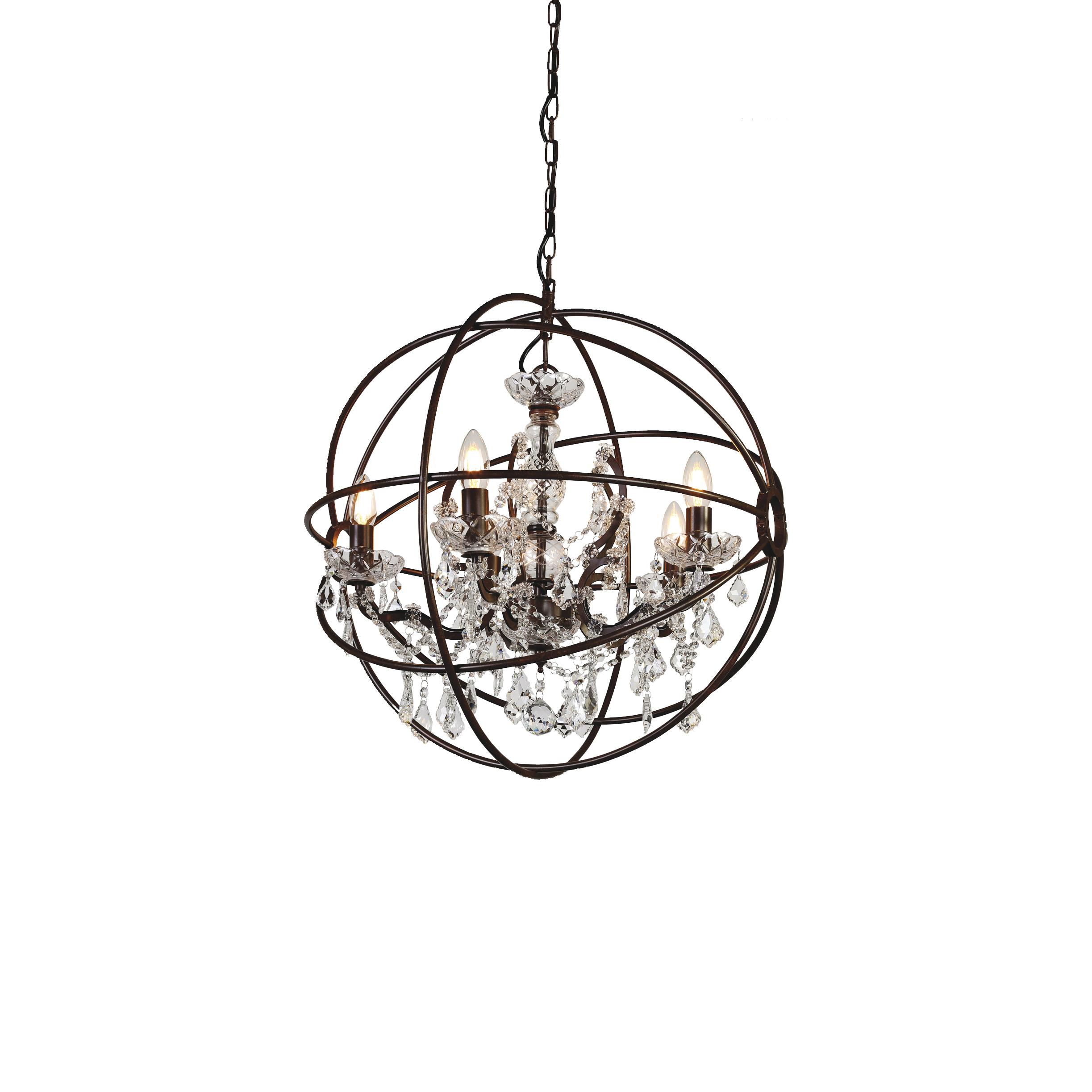Подвесная люстра Favourite Orbit 1834-5P, 5xE14x40W, коричневый, прозрачный, металл, стекло, хрусталь - фото 1