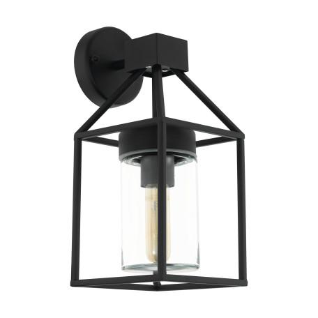 Настенный фонарь Eglo Trecate 97296, IP44, 1xE27x60W, черный, прозрачный, металл, металл со стеклом