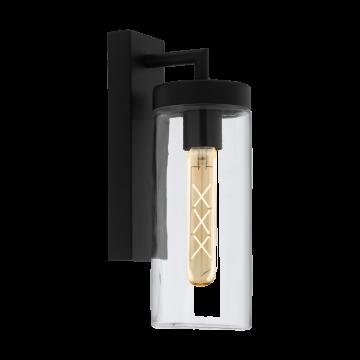 Настенный светильник Eglo Bovolone 97261, IP44, 1xE27x60W, черный, прозрачный, металл, стекло