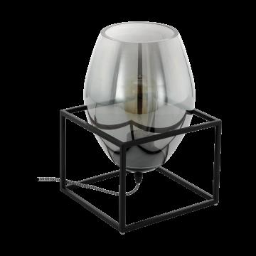 Настольная лампа Eglo Olival 1 97209, 1xE27x40W, черный, дымчатый, металл, стекло