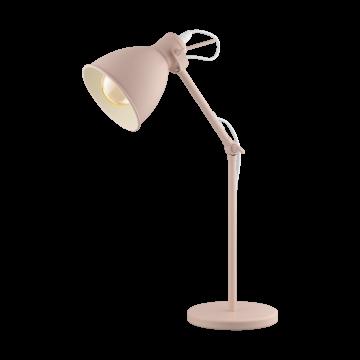 Настольная лампа Eglo Priddy-P 49086, 1xE27x40W, розовый, металл