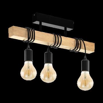 Потолочный светильник Eglo Townshend 32915, 3xE27x60W, коричневый, черный, дерево