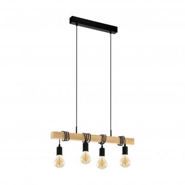Подвесной светильник Eglo Trend & Vintage Industrial Townshend 32916, 4xE27x60W, коричневый, черный, дерево