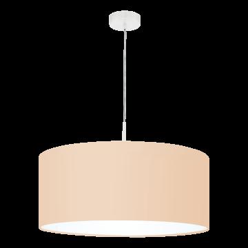 Подвесной светильник Eglo Pasteri-P 97562, 1xE27x60W, белый, бежевый, металл, текстиль