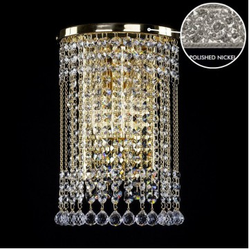 Бра Artglass GWEN STRAIGHT NICKEL CE, 2xE14x40W, никель, прозрачный, металл, хрусталь Artglass Crystal Exclusive