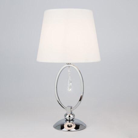 Настольная лампа Eurosvet Madera 01055/1 хром/прозрачный хрусталь Strotskis, 1xE14x60W, хром, белый, прозрачный, металл, текстиль, хрусталь