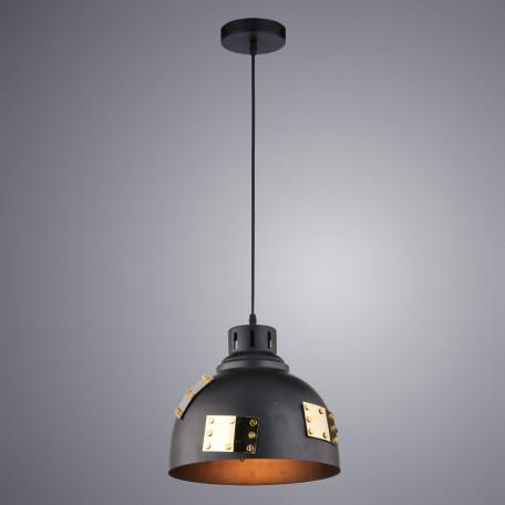 Подвесной светильник Arte Lamp Eurica A6024SP-1BK, 1xE27x60W, черный, золото, металл