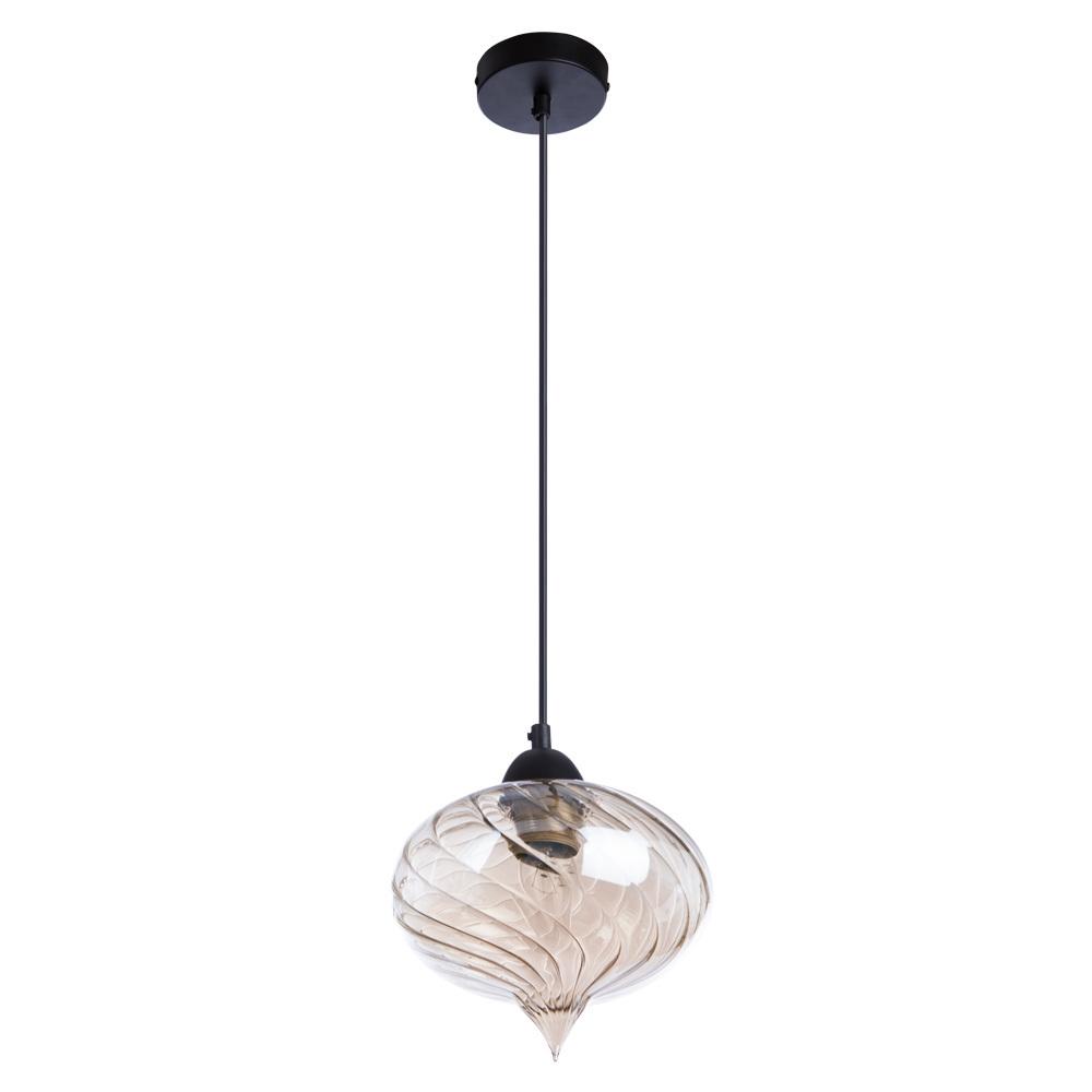 Подвесной светильник Arte Lamp Emozione A7171SP-1AM, 1xE27x40W, черный, янтарь, металл, стекло - фото 1