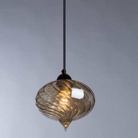 Подвесной светильник Arte Lamp Emozione A7171SP-1AM, 1xE27x40W, черный, янтарь, металл, стекло - миниатюра 2