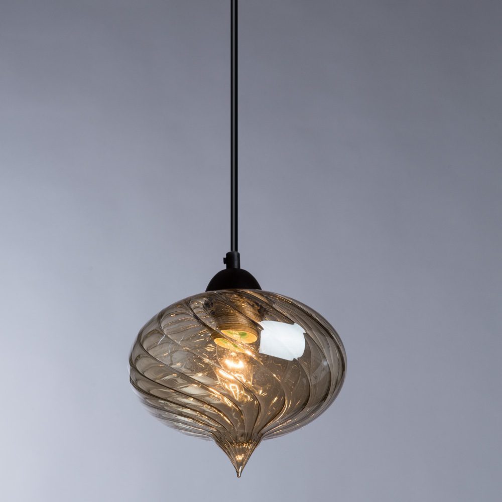 Подвесной светильник Arte Lamp Emozione A7171SP-1AM, 1xE27x40W, черный, янтарь, металл, стекло - фото 2