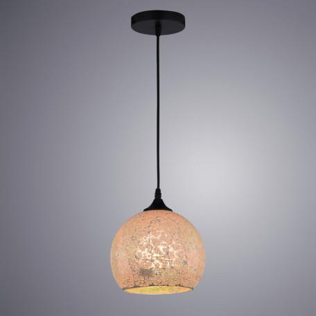 Подвесной светильник Arte Lamp Mosaic A8073SP-1BK, 1xE27x40W, черный, янтарь, металл, стекло