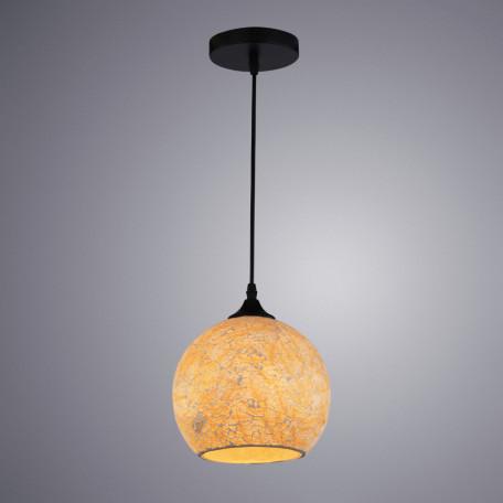 Подвесной светильник Arte Lamp Mosaic A8076SP-1BK, 1xE27x40W, черный, янтарь, металл, стекло
