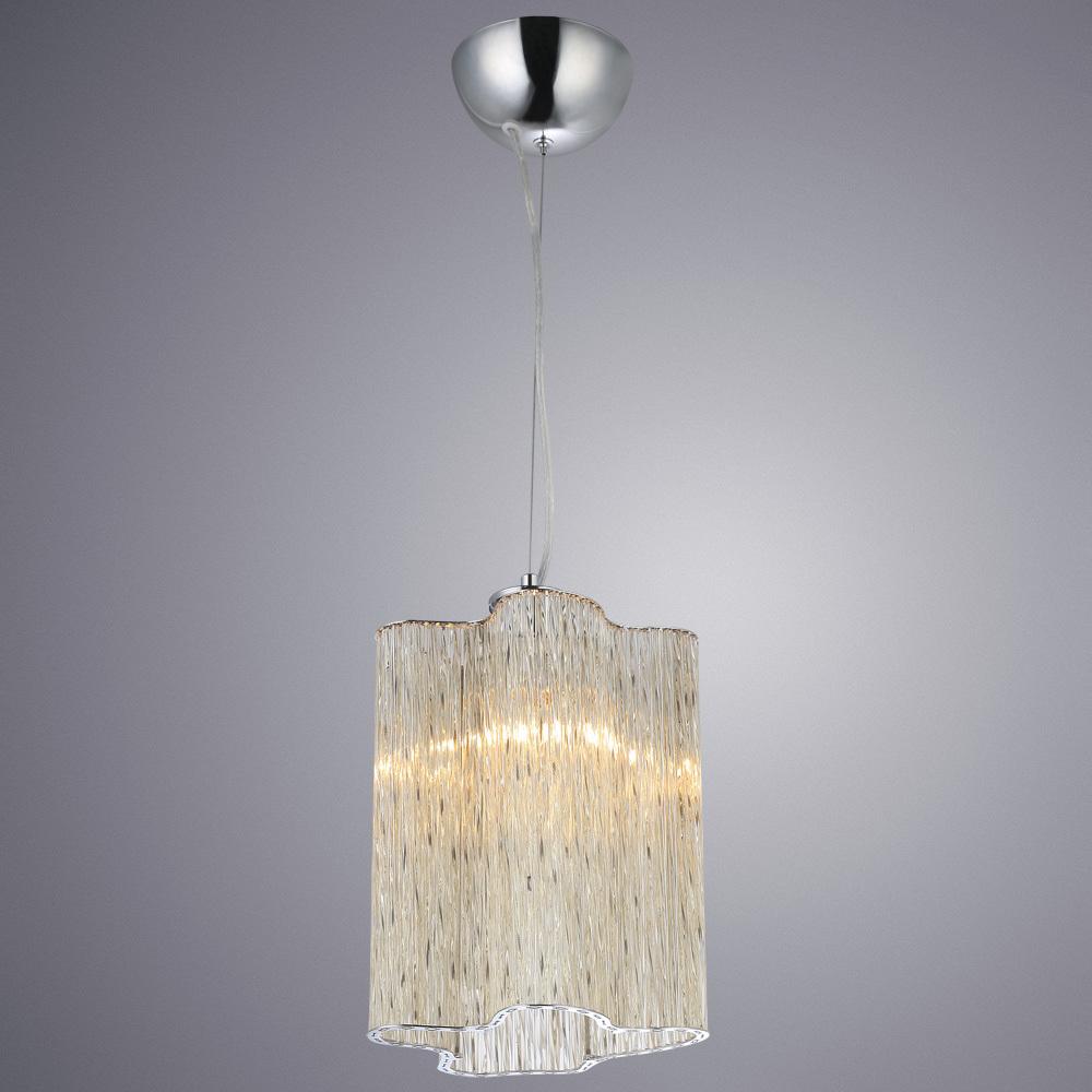 Подвесной светильник Arte Lamp Diletto A8561SP-1CG, 1xE14x40W, хром, коньячный, металл, стекло - фото 1