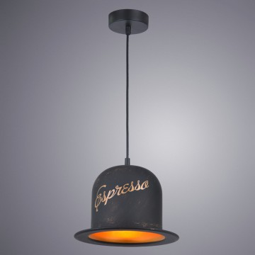 Подвесной светильник Arte Lamp Capello A5064SP-1BN, 1xE27x40W, черный, золото, металл