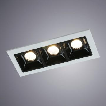 Встраиваемый светодиодный светильник Arte Lamp Instyle Grill A3153PL-3BK, LED 6,75W 3000K 405lm CRI≥80, белый, черно-белый, металл