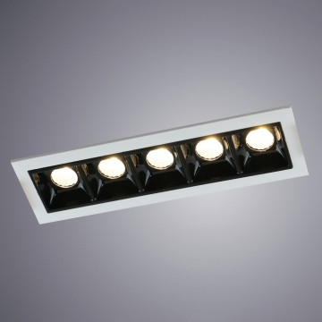Встраиваемый светодиодный светильник Arte Lamp Instyle Grill A3153PL-5BK, LED 11,25W 3000K 675lm CRI≥80, белый, черно-белый, металл