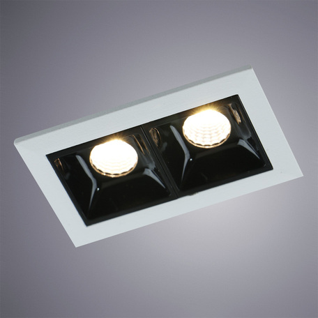 Встраиваемый светодиодный светильник Arte Lamp Instyle Grill A3153PL-2BK, LED 4,5W 3000K 270lm CRI≥80, белый, черно-белый, металл