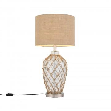Настольная лампа ST Luce Ampolla SL971.524.01, 1xE27x60W, коричневый, прозрачный, хром, бежевый, стекло, текстиль